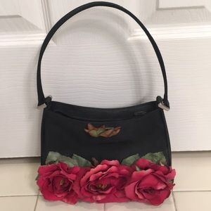 Handmade Black Small Purse w/Red Silk